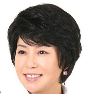 Chokecherry wig elegant quinquagenarian wig stubbiness women's fluffy oblique short hair straight hair bangs