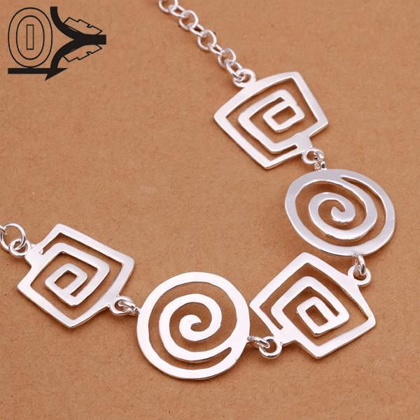 Free Shipping!!Hot Sell Silver Plated Necklace,Fashion Jewelry Accessories,Square Thread Geometric Pendant Silver Necklaces(China (Mainland))