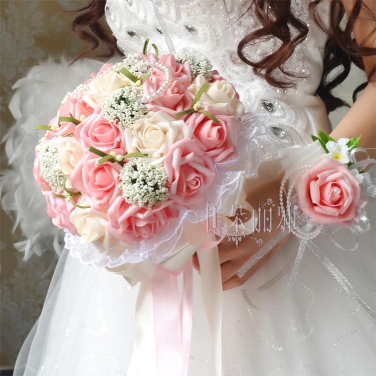 2016 Bridal Bridesmaid Wedding Bouquet Cheap New Arrival PinkampIvory Handmade Artificial Rose