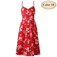חדש Boho off-כתף מסיבת החוף הקיצי ספגטי ארוך שמלות בתוספת גודל קיץ נשים כפתור מעוטר הדפסת שמלת CRRIFLZ(China)