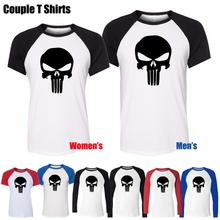 Simple Style Punisher Skull Marvel Fashion Design Printed T-Shirt Womens Girl's Tee Tops Red or Black Sleeve