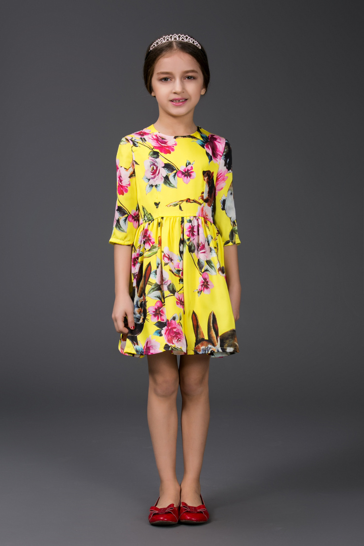 2015 Brand Baby Girls Cotton Print Summer Dress / Cheap Princess Dress Australia / Half Sleeve A-line Yellow Floral Dresses(China (Mainland))