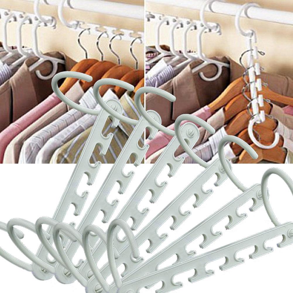 8 X Space Saver Magic Wonder Coat Hanger Closet Clothes Rack Storage Organizer Hooks In Racks