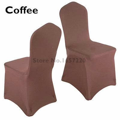 2 pieces lot Universal brown spandex chair covers for wedding home decoration office party dining kitchen table chair covers(China (Mainland))