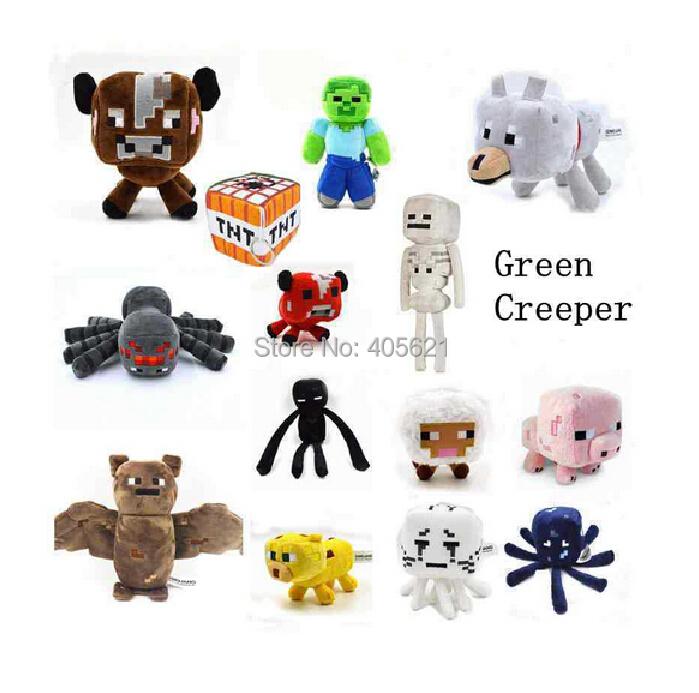 16-26cm My World Minecraft Zombie Ghost Doll Wolf Ocelot Stuffed Animals JJ Strange Sheep 15 style Plush Toys(China (Mainland))