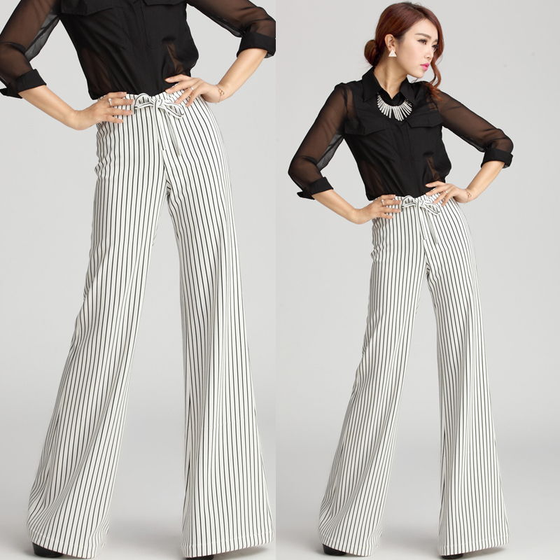 Compare Prices on White and Black Striped Wide Leg Pants- Online ...