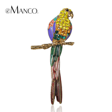 eManco Classic Top Brand Luxury Kawaii Animal Cute Parrot Birds Brooches for Women Multi Color Rhinestone Gold Plated Jewelry(China (Mainland))