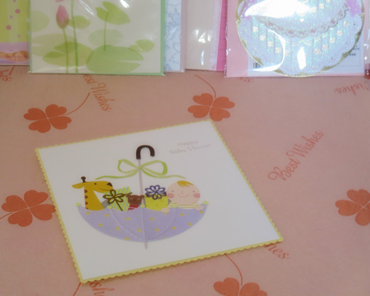 Quality unique blessing greeting card cartoon umbrella baby card(China (Mainland))