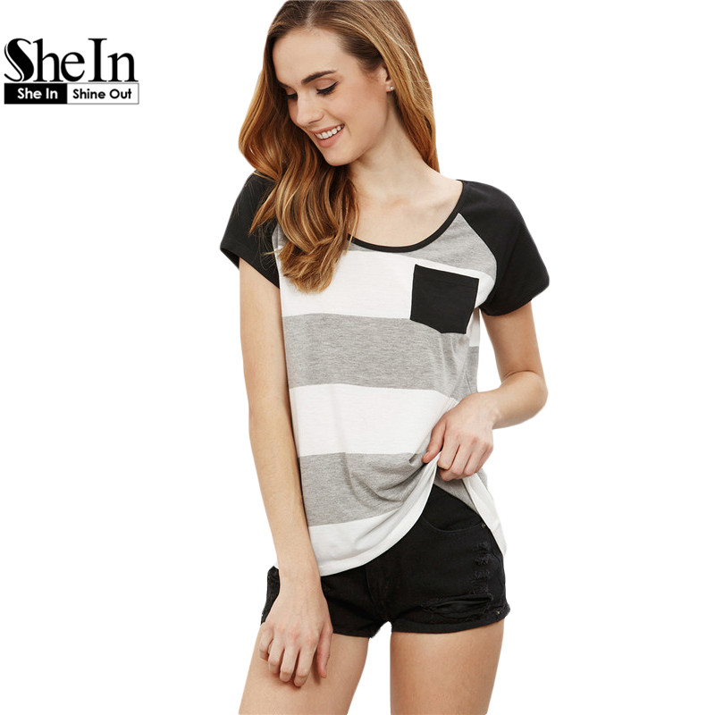 SheIn T shirt Women 2016 Clothing Summer Casual Cotton Tees Multicolor Striped Round Neck Short Sleeve Pocket T-shirt(China (Mainland))