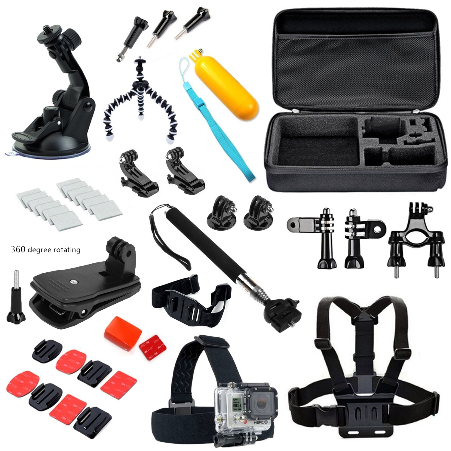 Gopro Accessories Head strap Chest strap Helmet strap Floating Handle Grip Monopod pole carry bag for Gopro Hero4 3+ 3 2<br><br>Aliexpress