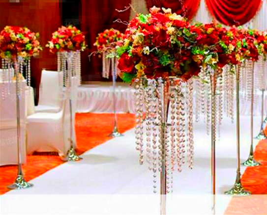 Table top crystal chandelier walkway stand wedding tall