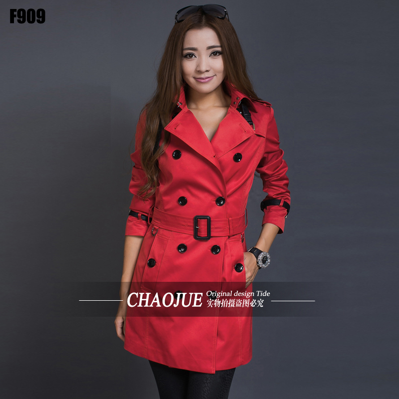 Trench outerwear female 2016 spring and autumn fashion patchwork PU trench plus size womens red trench coat leather tie peacoat(China (Mainland))