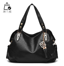 LINLANYA High Quality PU Leather Women handbags fashion comfortable solid color tassel bag Female classic shopping tote bag Q-16(China (Mainland))