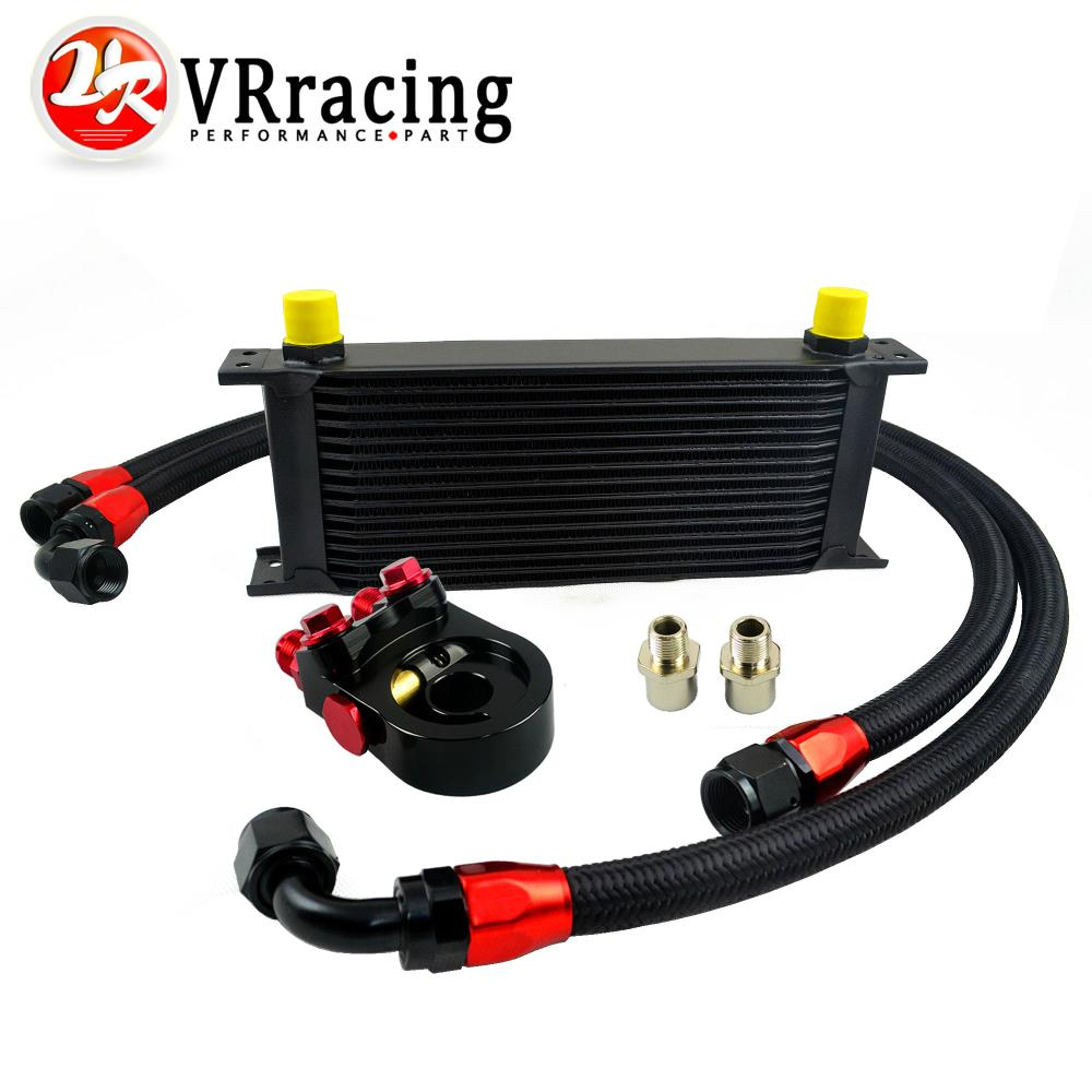 Фотография VR-Universal 15ROWS OIL COOLER ENGINE KIT +AN10 oil Sandwich Plate Adapte with Thermostat +2PCS NYLON BRAIDED HOSE LINE BLACK