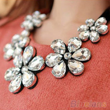 New Fashion exquisite Flower Ribbon Gem Petals charming Bib collar Necklace jewelry items 1GI3