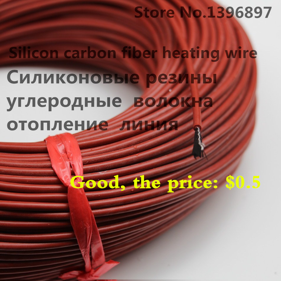 Infrared Teflon Underfloor Heating Cable System 2.1Mm 12K/33Ohm PTFE/Silicone Carbon Fiber Floor Roof Electric Wire Hotline