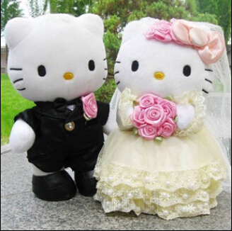 20cm 1 Pair Wedding Couple Hello Kitty plush toys,High-quality,Wedding Toys Free shipping(China (Mainland))