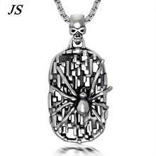 JS Gothic Spider Pendant Men Spider Web Necklace Custom Punk Engraved Dog Tag Steampunk Male Jewelry TN018