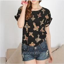 Fashion Casual Women Clothing vestidos Cross Blusas Short Bat Sleeve Stretch Summer Style Loose shirt Tops E3012(China (Mainland))