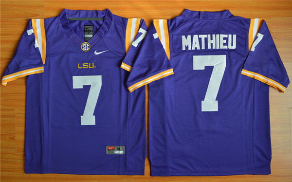New Arrival High Quality Nike2015 LSU Tigers Tryann Mathieu 7 T-shirt Jersey - Purple(China (Mainland))