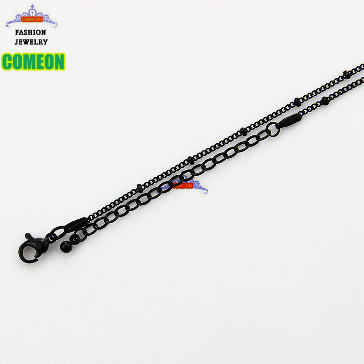 20'' Stainless steel black ball rolo link chain necklaces for floating charm glass locket(China (Mainland))