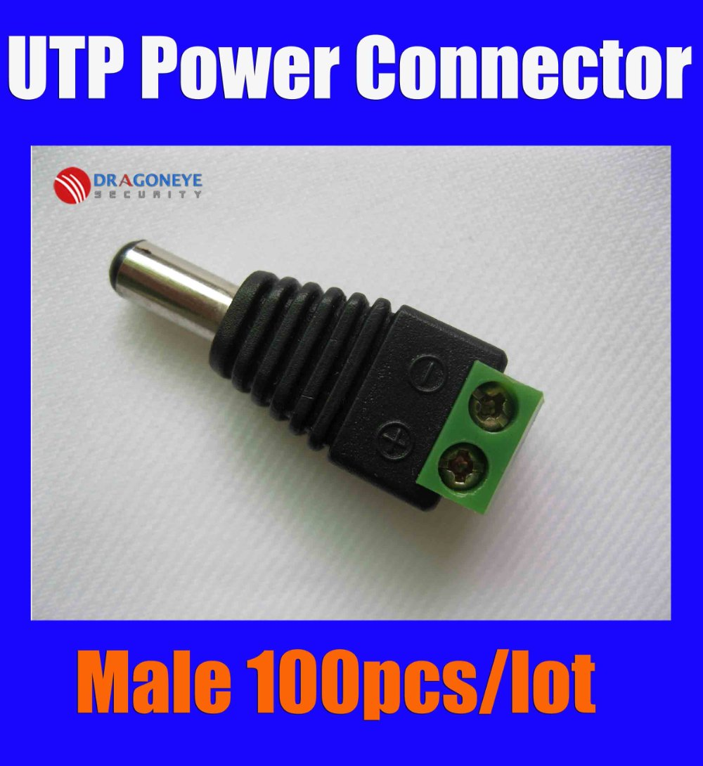 100pcs Male DC Plug CCTV Male DC Jack DC Connector Power Plug for Security CCTV Camera System 2.1 x 5.5mm