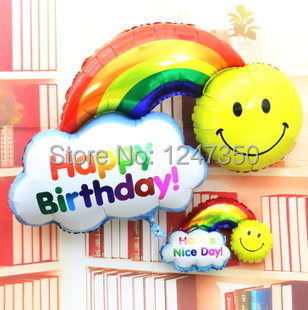 Foil Balloons double side Happy Birthday Wedding Decoration Large size Smile Face Rainbow Globos balls Have A Nice Day kids toys(China (Mainland))