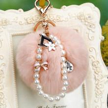 Pompons de peles Chaveiro 15 Cor 8 CM Rabbit Fur Pompom Keychain strass D Pérola Carro/Saco Charme Fofo Chaveiro Porte Clef Presente(China)