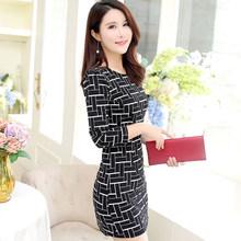 SexeMara/клетчатое сексуальное Повседневное платье с длинными рукавами для женщин, с круглым вырезом, черно-белое Летнее мини-платье, сексуальн...(China)