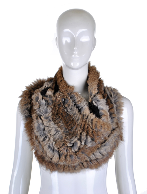 Hot sale YR-498 Genuine rabbit and yarn knitted rabbit fur snood scarf ~wholesale~retail