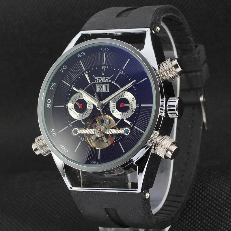 2015 Men Military Watch Automatic Mechanical Tourbillon Mens Wrist Watch New Fashion Casual Rubber Strap Watch JARAGAR Relojes(China (Mainland))
