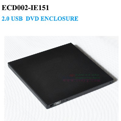 External DVD RW Enclosure Case USB 2.0 Slot in DVD 12.7mm IDE Optical Drive Superdrive No Driver ECD002-IE151(China (Mainland))