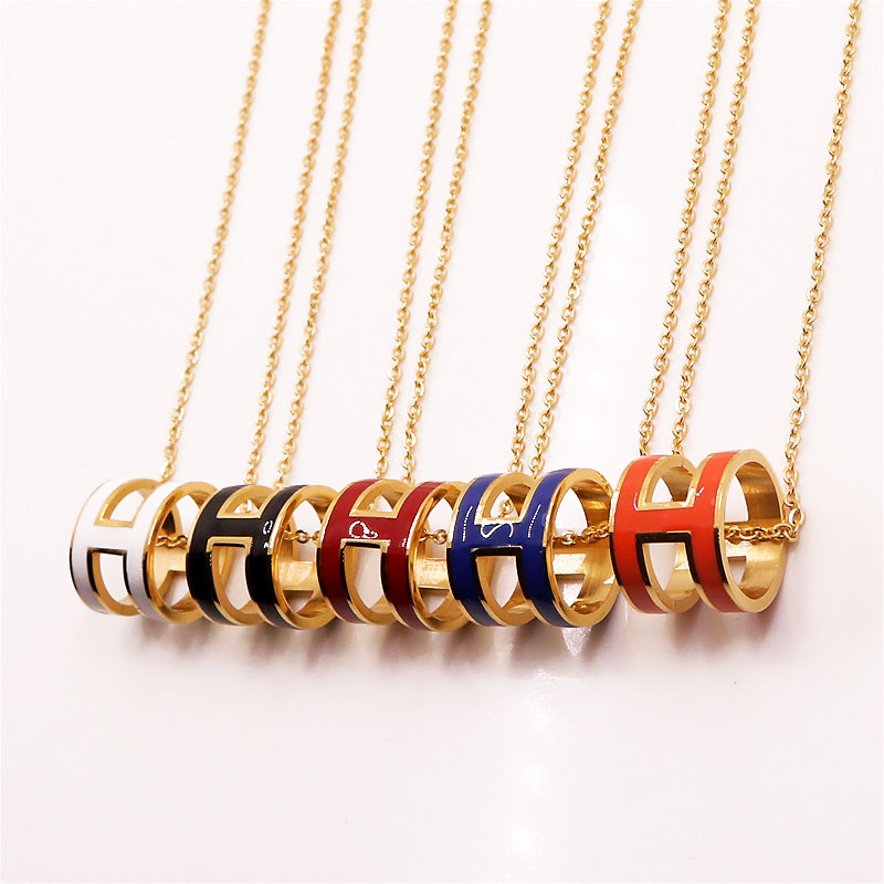 Hollow Fashion H Stainless Steel Choker Necklace Link Chain Long Necklaces Women Jewelry Pendants - LOVE ZM store