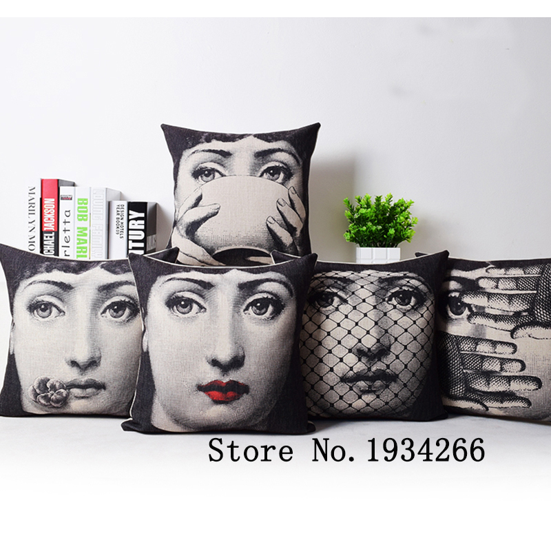 2015 fashion Vintage Fornasetti Art Beauty Face SKULL Custom Made Pillow Cover Black and WHite Case