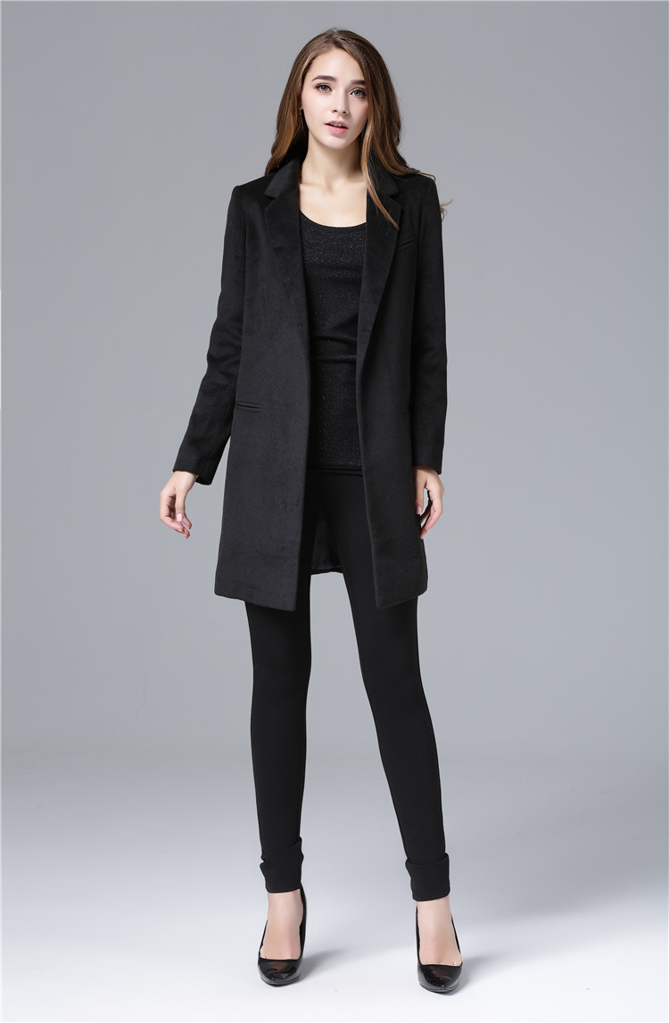 Cheap and Chic Celebrity All-match Woolen Medium Long Jacket(China (Mainland))