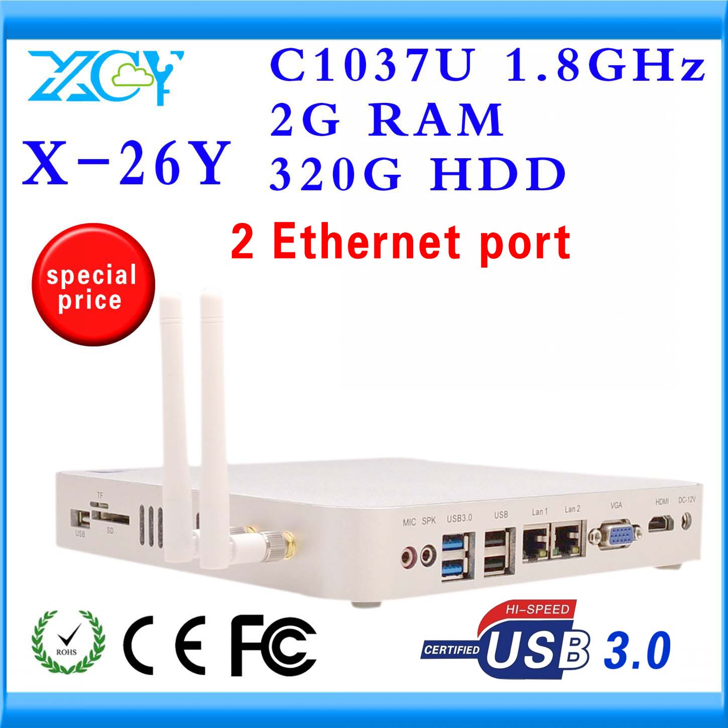 New arrival!! promotional price thin client linux hdmi X-26y dual lan 2gb ram 320gb hhd support computer input output devices(China (Mainland))