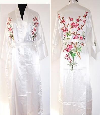 White Chinese Women's Silk Satin Robe Embroidery Kimono Gown Flower S M L XL XXL XXXL Free Shipping MR-023(China (Mainland))
