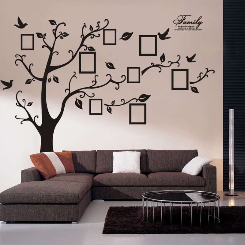 2016 New Big Photo frame memory tree classical family wall decal decorative removable pvc wall sticker(China (Mainland))