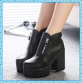 2015 Top Quality Leather Boots Fashion Shoes Pointed Toe Wedges Boots