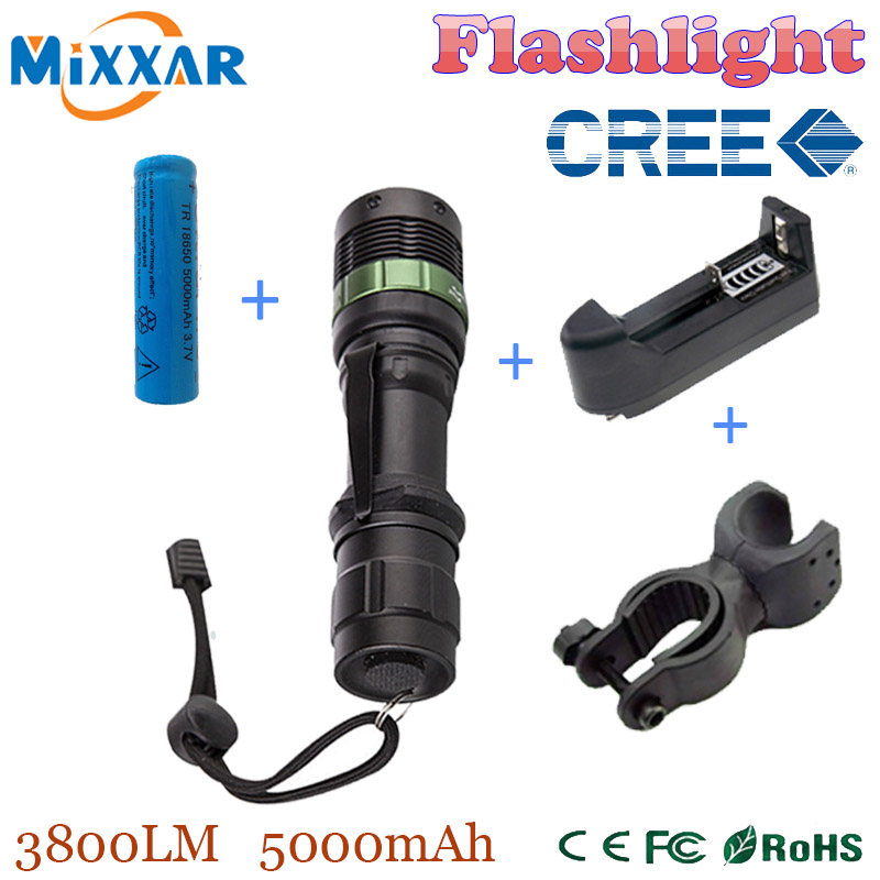 zk35 CREE XM-L 3800 LM Q5 LED Flashlight Torch Zoomable Light Black led bicycle light with battery and charger+holder(China (Mainland))