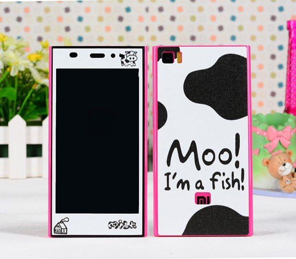 Moo cow Xiaomi mi3 screen protector mi 3 mobile phone cell sticker skin cover kawaii cartoon print decor film - Decor Union Store store