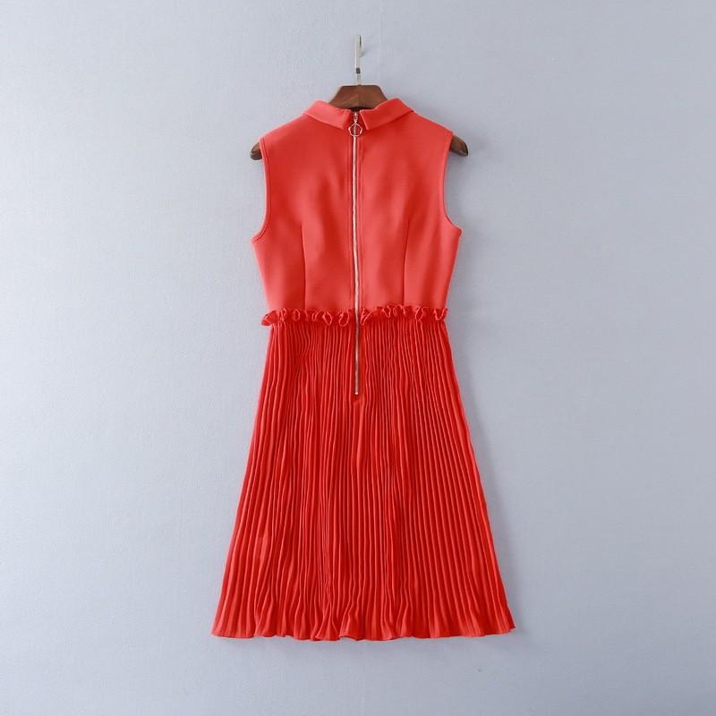 แฟชั่นใหม่ผู้หญิงชุดฤดูใบไม้ผลิ2017รันเวย์ออกแบบยุโรปวินเทจปักแขนกุดพรรคสไตล์ชุด ถูก
