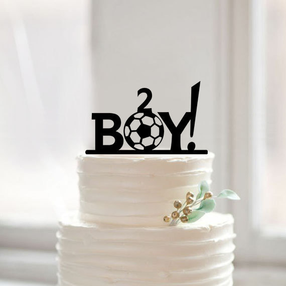 Baby boy shower birthday football cake topper,custom baby cake topper with age,sweet children birthday acrylic cake topper(China (Mainland))