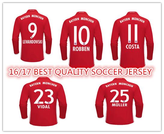 Best quality 2016 2017 Long sleeve of Bayernes Muniches shirt MULLER COSTA LEWANDOWSKI 16/17 Home ALABA CUSTOM T SHIRTS(China (Mainland))