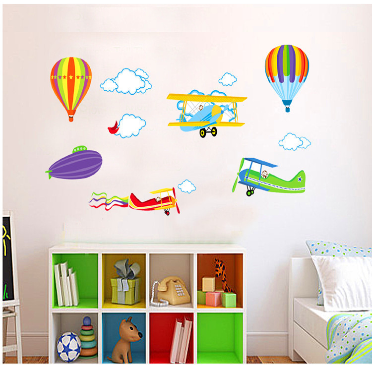 2016 New! Cartoon Airplane Hot Air Balloons Removable Wall sticker Vinyl Decals Kids Room Boys Home Decoration Mural - 24 Hours Export Trade Co., Ltd store