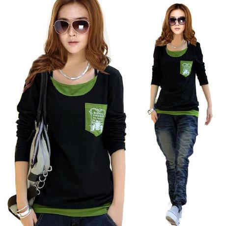 2015 Fashion Long Sleeve Women Tops Plus Size Cotton Black T Shirt Casual Clothing M L XL 2XL 3XL 4XL - Three girl store