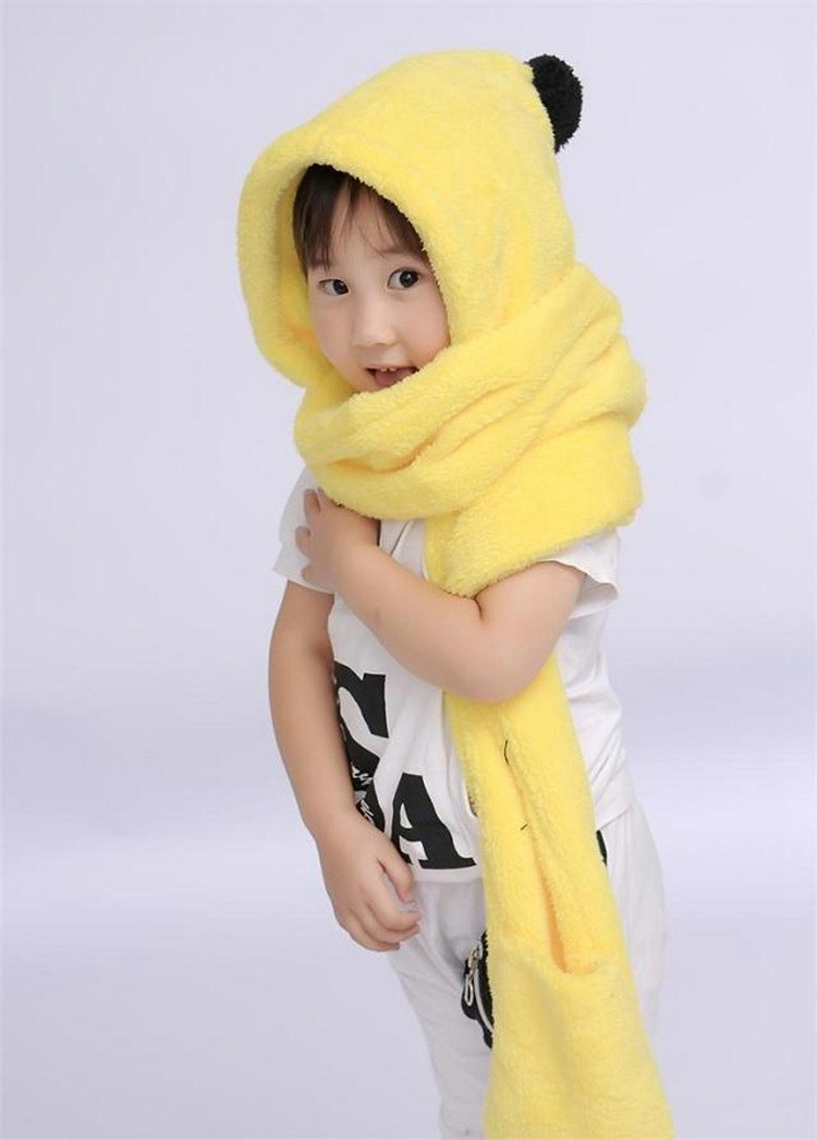 New hot sale boys and girls cute hats scarves gloves,Yellow products Warmth winter children plush hoodie gloves earcap