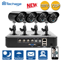Techage 4CH AHD DVR CCTV System 4PCS 720P 1200TVL IR Outdoor P2P HD Camera Video Surveillance