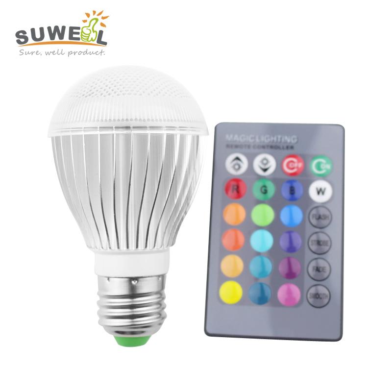 2015 new 3w 10w e27 dimmable rgb led bulb lamp 110/220v e27 led bombilla synch control 24 key ir remote control(China (Mainland))