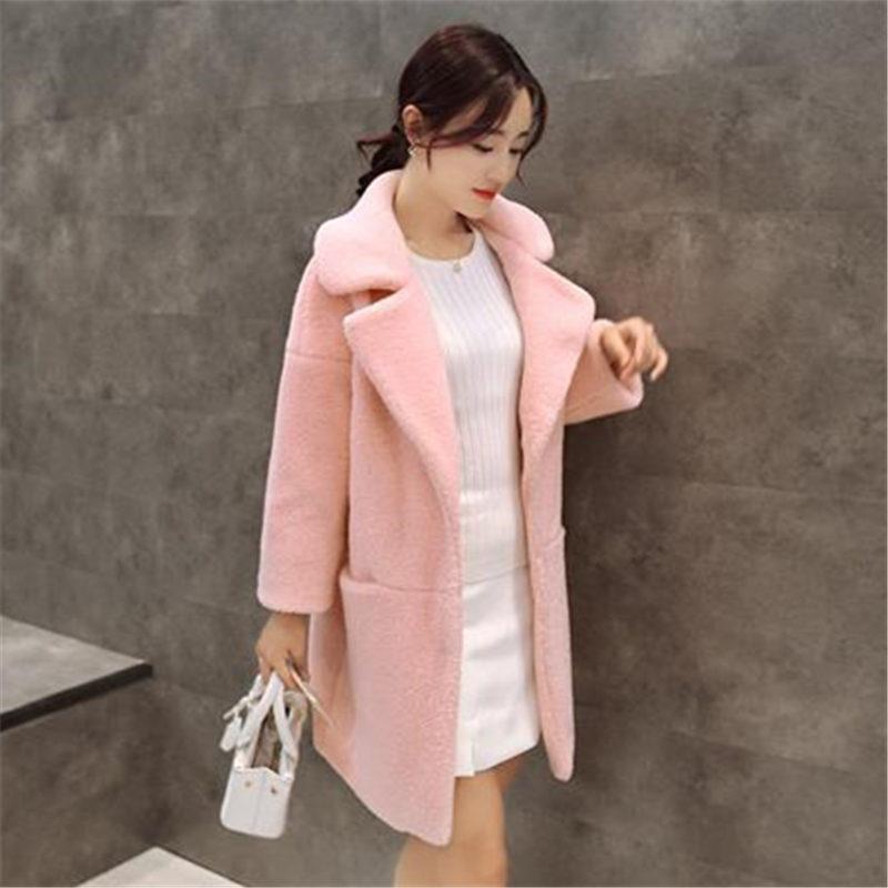 Здесь можно купить  Winter  Casual Women Lamb Coats Long Slim Female Cashmere Jakcket Warm Turn-down Woolen Overcoat Outside WY285  Одежда и аксессуары